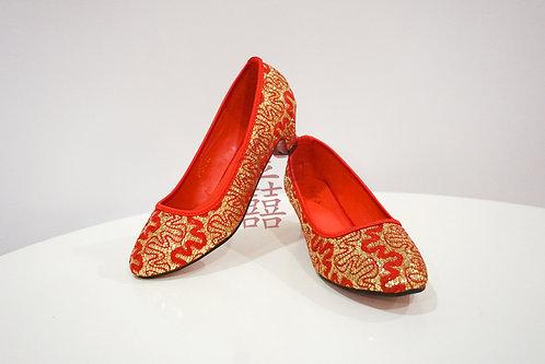 中式金线刺绣新娘鞋2寸高跟鞋 Red Wedding Shoes 2inch