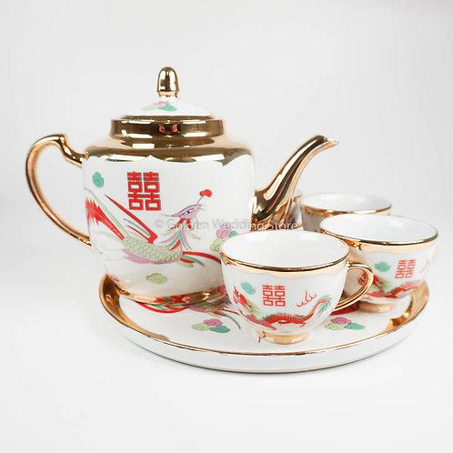 Jingdezhen Luxury Wedding Teapot Set 景德镇双喜龙凤描金茶具