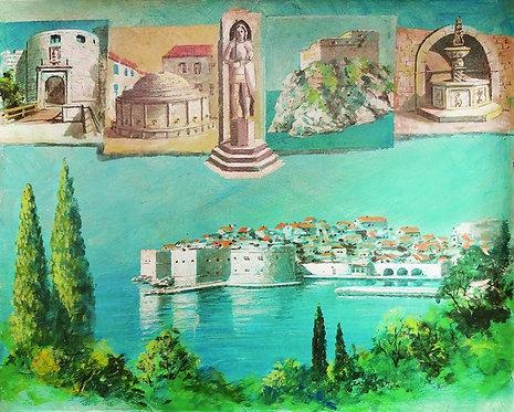 """94. Mladen Legin, """"Die Stadt Dubrovnik"""" 40x50 cm"""
