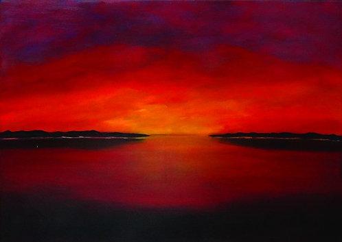 """125. Siniša Križanec, """"Zalazak sunca"""", 40x56 cm"""