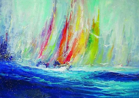 """53. Ivica Petraš, """"Die Segelboote"""", 40x56,5 cm"""