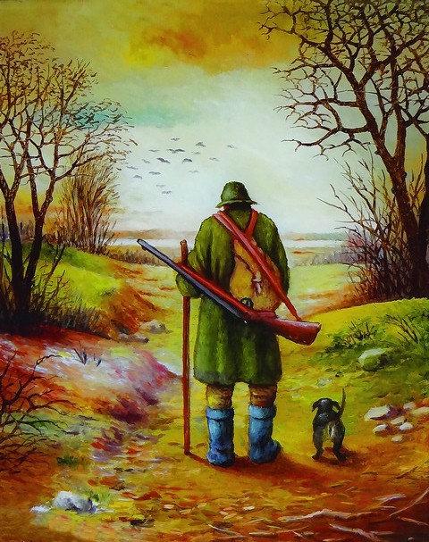 """15. Miro Pintar, """"Lovac"""", 41x50 cm"""