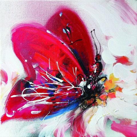 """1. Zorica Turkalj, """"Rotter Schmetterling"""",42x42 cm"""