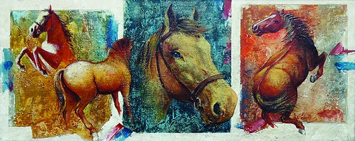"112. Mladen Legin, ""Triptih - konji"", 25,5x63,5 cm"