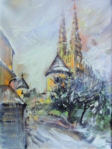 """30. Zorica Turkalj, """"The Cathedral"""", 50x38 cm"""