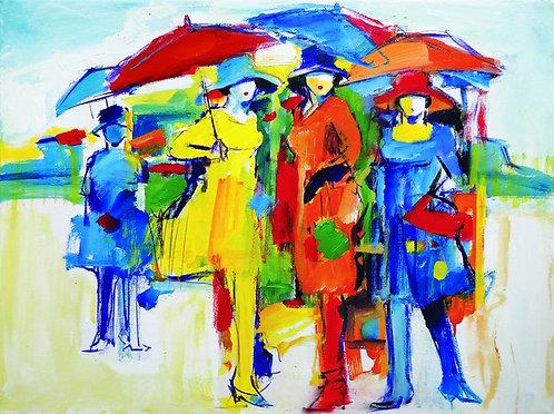 """3. Koraljka Beker, """"Djevojke na kiši"""", 40x53,5 cm"""
