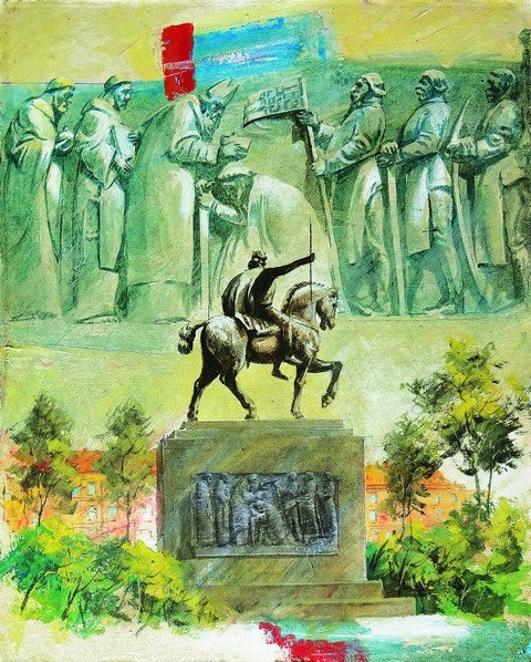 "84. Mladen Legin, ""King Tomislav"", 50x40 cm"