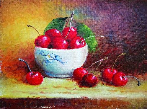 """86. Sonja Pintar, """"Die Kirschen"""" 40x53 cm"""