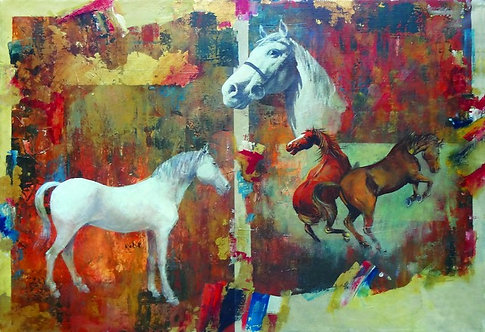 """23. Mladen Legin, """"Horses"""", 40x58,5 cm"""