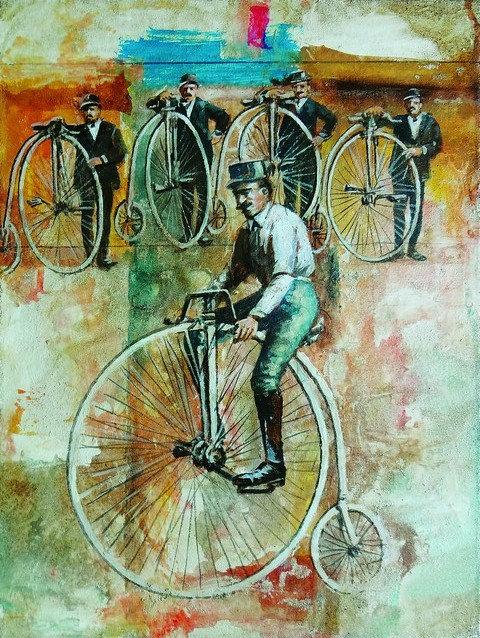 """65. Mladen Legin, """"Die Radfahrer"""" , 53x40 cm"""
