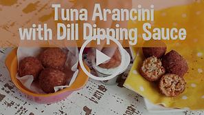 tuna arancini with dill dipping sauce, snack healthy, snack happy