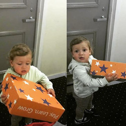 This gorgeous boy just received his Curio and he couldn't be more excited to open it..