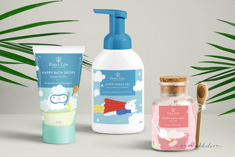 Packaging illustration & design for Flutter Labs Kids