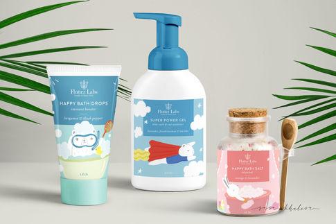 Packaging illustration & design for Flutter Labs Kids