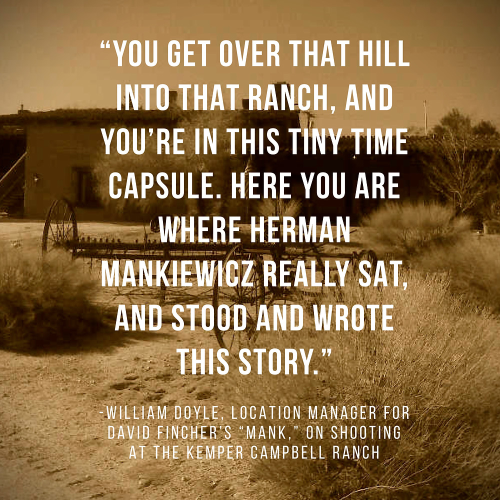 """William Doyle on shooting """"Mank"""" at Kemper Campbell Ranch"""