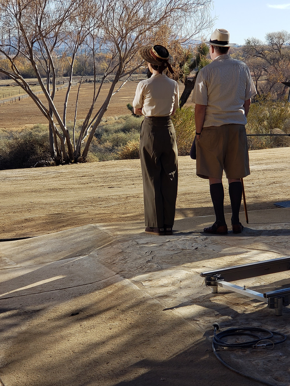 """Lily Collins and Gary Oldman shooting scene for """"Mank"""" at Kemper Campbell Ranch"""