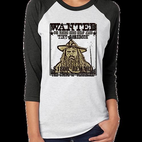 Tiny Wanted Poster Mellomoon Moonshine Unisex 3/4 Sleeve Raglan Baseball Shirt