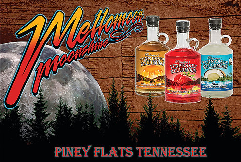 East Tennessee Distillery Mellomoon Moonshine on an Aluminum Sign