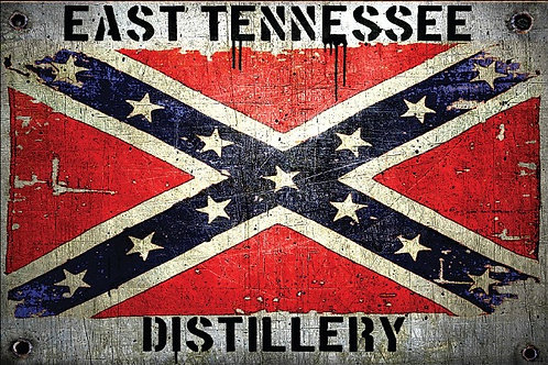 East Tennessee Distillery Confederate Flag on an Aluminum Sign