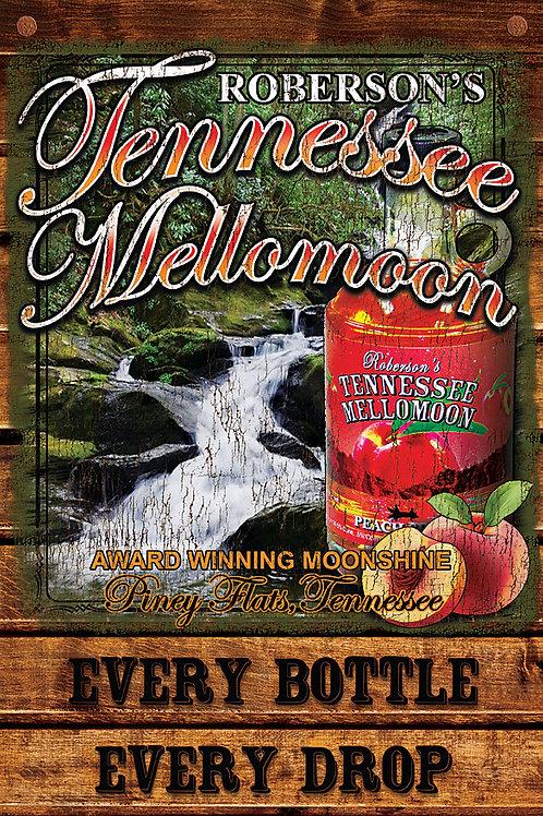 Tennessee Mellomoon ETD Peach Moonshine on an Aluminum Sign