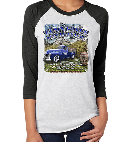 East Tennessee Distillery Vintage Pickup Unisex 3/4 Sleeve Raglan Baseball Shirt