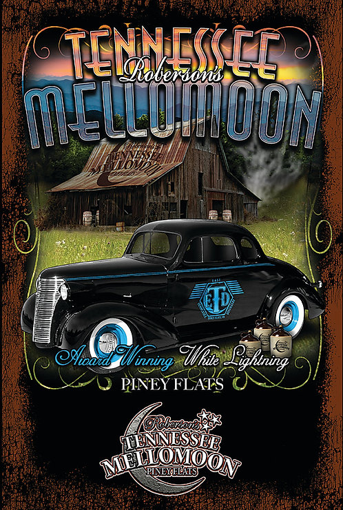 Tennessee Mellomoon ETD Vintage Black Coupe on an Aluminum Sign