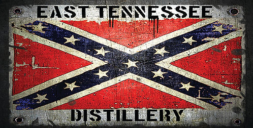 East Tennessee Distillery Confederate Flag License Plate