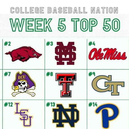 RANKINGS: Week 5 College Baseball Top 50