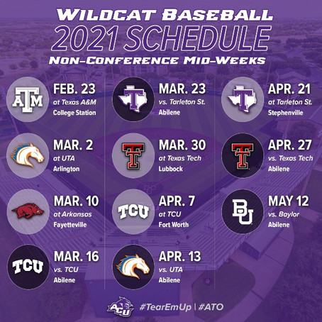 Abilene Christian Releases Midweek Schedule Featuring SEC and Big 12 Opponents