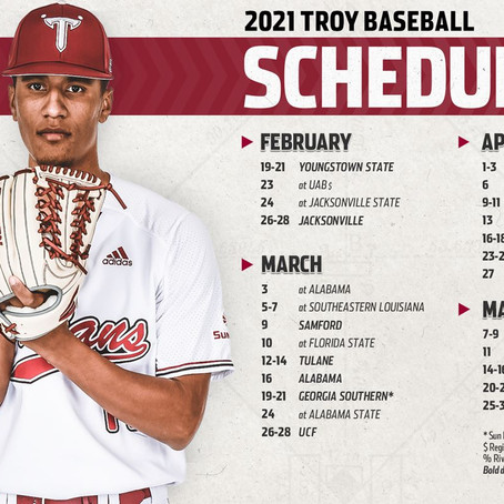 Troy Releases 50-Game Schedule for 2021 Season