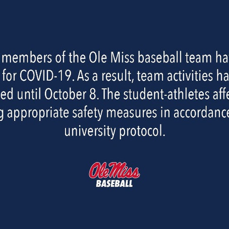Ole Miss Suspends Baseball Activities Due to COVID-19 Outbreak