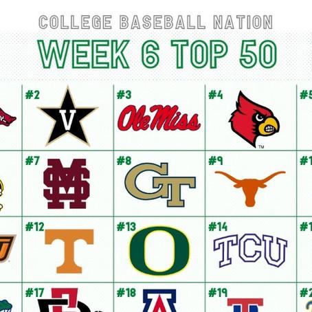 Week 6 College Baseball Top 50: Arkansas Rises Back to the Top