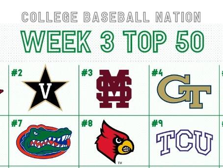RANKINGS: Week 3 College Baseball Top 50