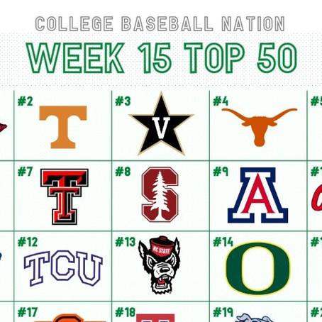 Week 15 College Baseball Top 50: Arkansas Finishes the Season #1