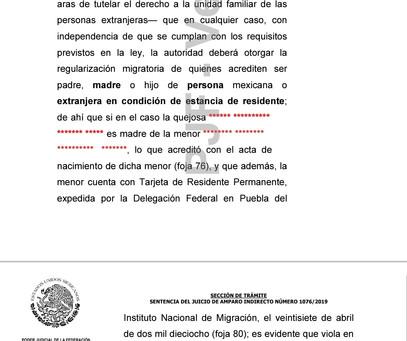 Resolución favorable de Amparo Migratorio, por Unidad familiar con hijo residente. Derechos humanos