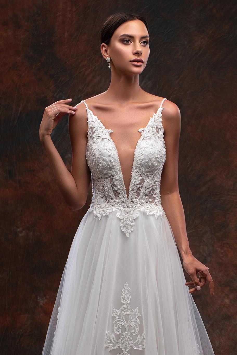 Amazing A-line wedding dress Danio by Hadassa, beaded wedding dress with swarovski crystals