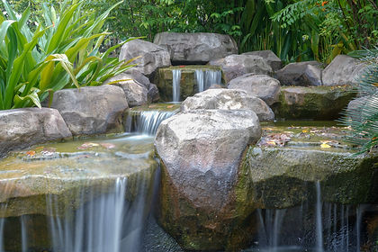 Waterfall and sword in the stone garden