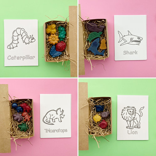 Boxed crayons and Colouring card set