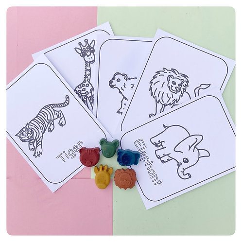 Animal Colouring Cards