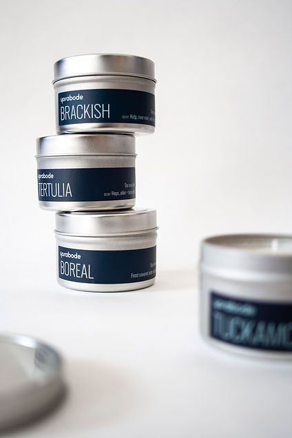 Aluminum tins with navy labels saying different scent names—tertulia, boreal, brackish and tuckamore
