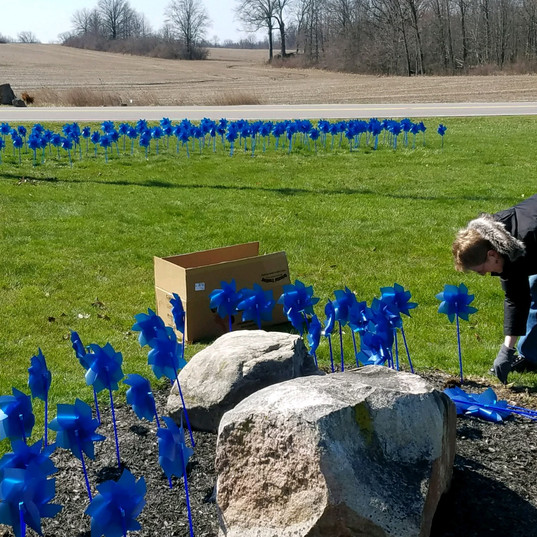 Pinwheels for Awareness of National Child Abuse Month