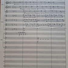 37 Liam 10 04 20  For a while I've been wanting to make a submission in one of my primary mediums: notation. I knew that writing by hand was time-consuming, but as can be seen, I still underestimated how long it would take to use all the instruments I laid out. The piece on the page is an adaptation of Aliayta's last submission for string orchestra. I liked the multiple layers of microtonal bends, and as I've been revisiting some Ligeti scores recently, decided to make it into a canon.