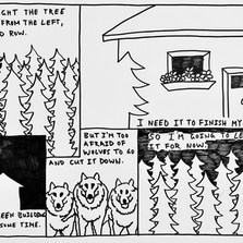 29 Paul 14 03 20  I chose to respond to Liam's first entirely visual submission (!) by turning the layout of his collage into a comicstrip. I also wanted to carry forward the deforestation theme (as a Londoner from Vancouver Island the issue resonates with me as deeply as ever). To give credit where it's due, thanks to @davidshrigley for the great work. I hope you're staying healthy and will continue to provide a sense of clarity for this shaken world.