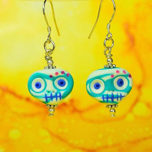 White & Blue E-Skull Drop Earrings