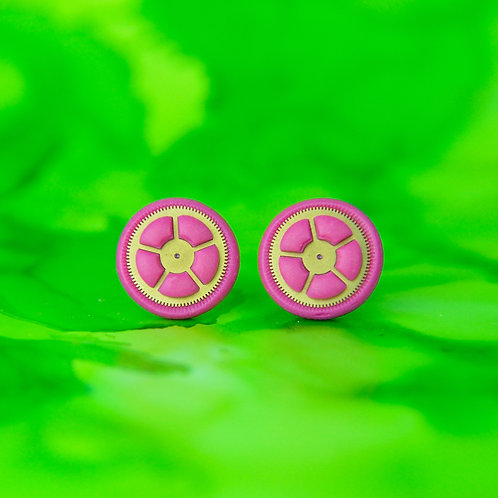 Pink Timepiece Stud Earrings (M)