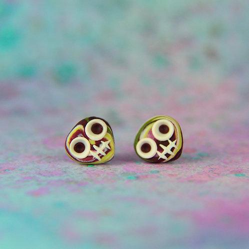 White, Plum & Olive Green E-Skull Stud Earrings