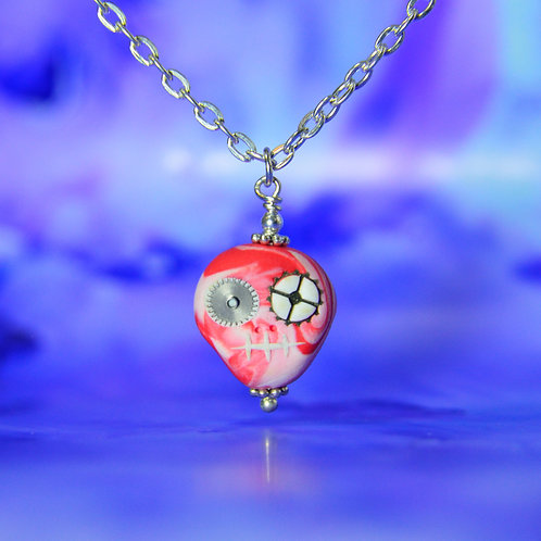 White & Red Classic E-Skull Necklace