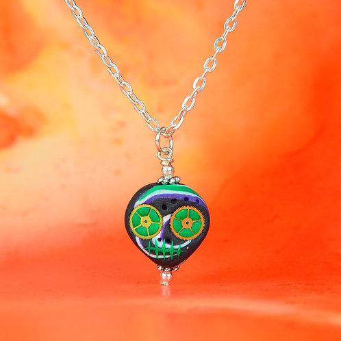 White, Black, Purple & Green Classic E-Skull Necklace