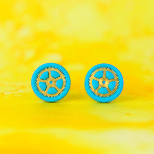 Turquoise Blue and Green Timepiece Stud Earrings (M)