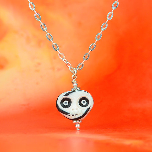 White & Navy Classic E-Skull Necklace